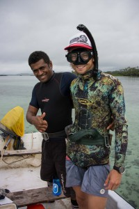 Our local assistant Manasa (left), and Steven (right) preparing to collect sediment samples
