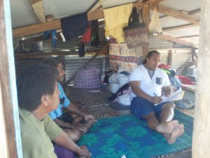 Household interview in makeshift home at Tuatua village